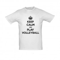 T-shirt Keep Calm and Play volleyball homme blanc/noir